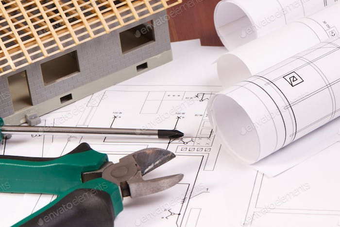 Electrical drawings, work tools, accessories for engineering and house under construction