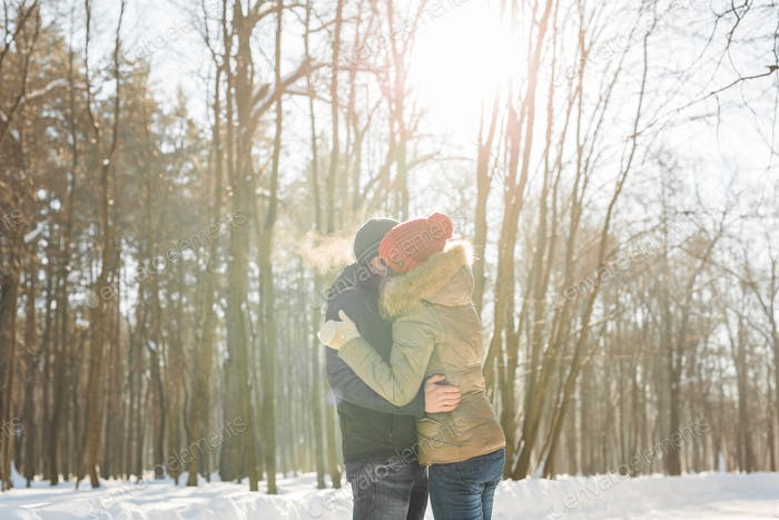 Young couple hugging and kissing in the Park in winter.