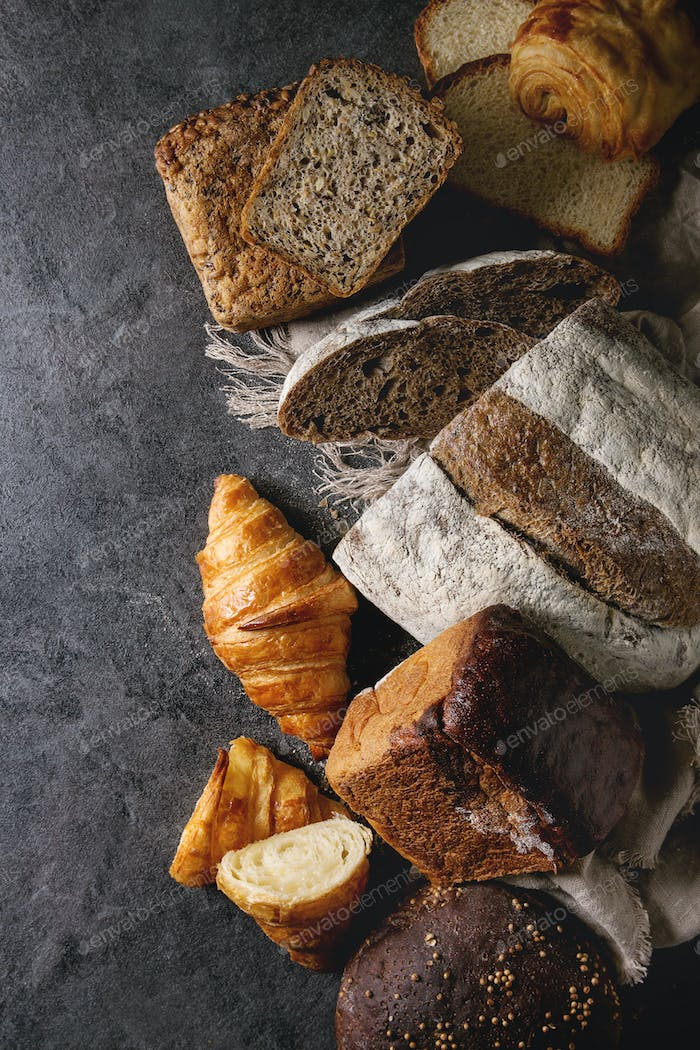 Variety of fresh baked bread