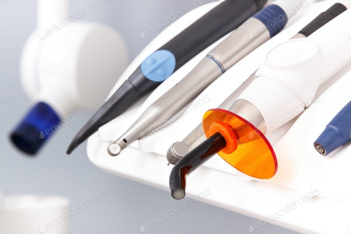 Dental instruments, tools and x-ray machine used by dentists