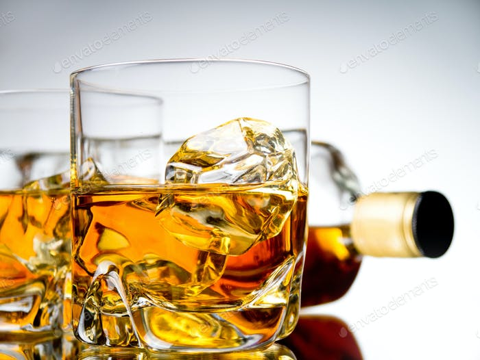 Two whiskeys and a bottle