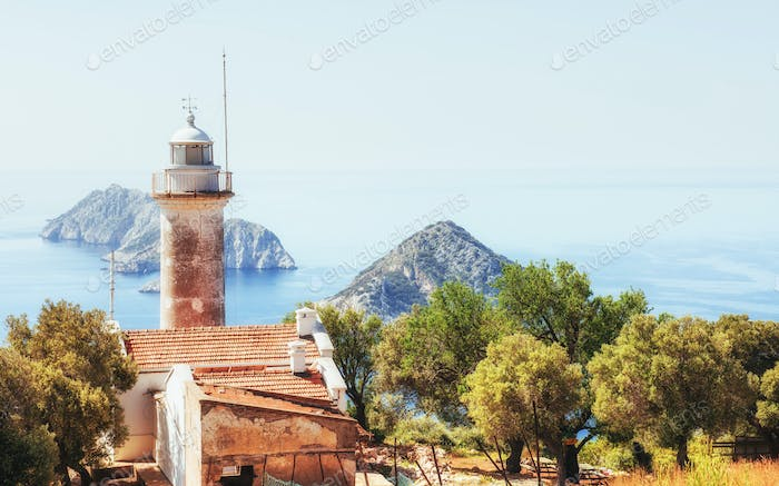 Lighthouse Gelidonya Peninsula in spring. Beautiful landscapes outdoors in Turkey and Asia. The