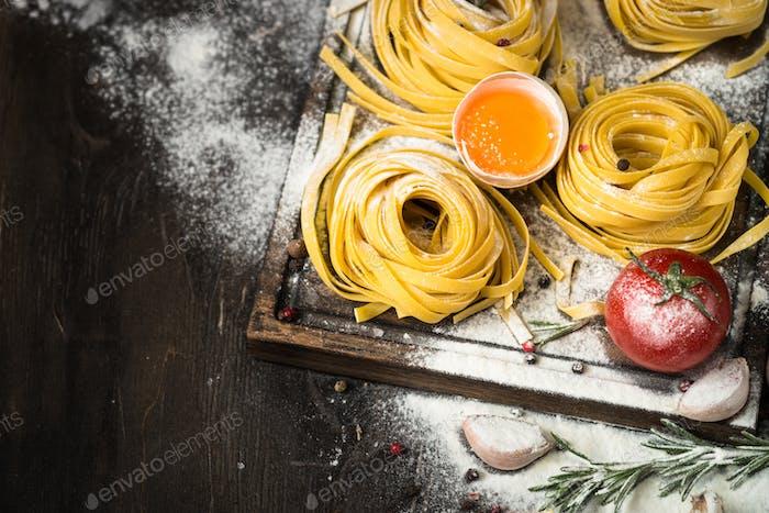 Preparation italian pasta tagliatelle