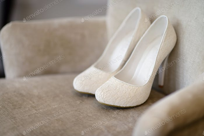Thumbnail for Beautiful colorful wedding shoes for bride indoors