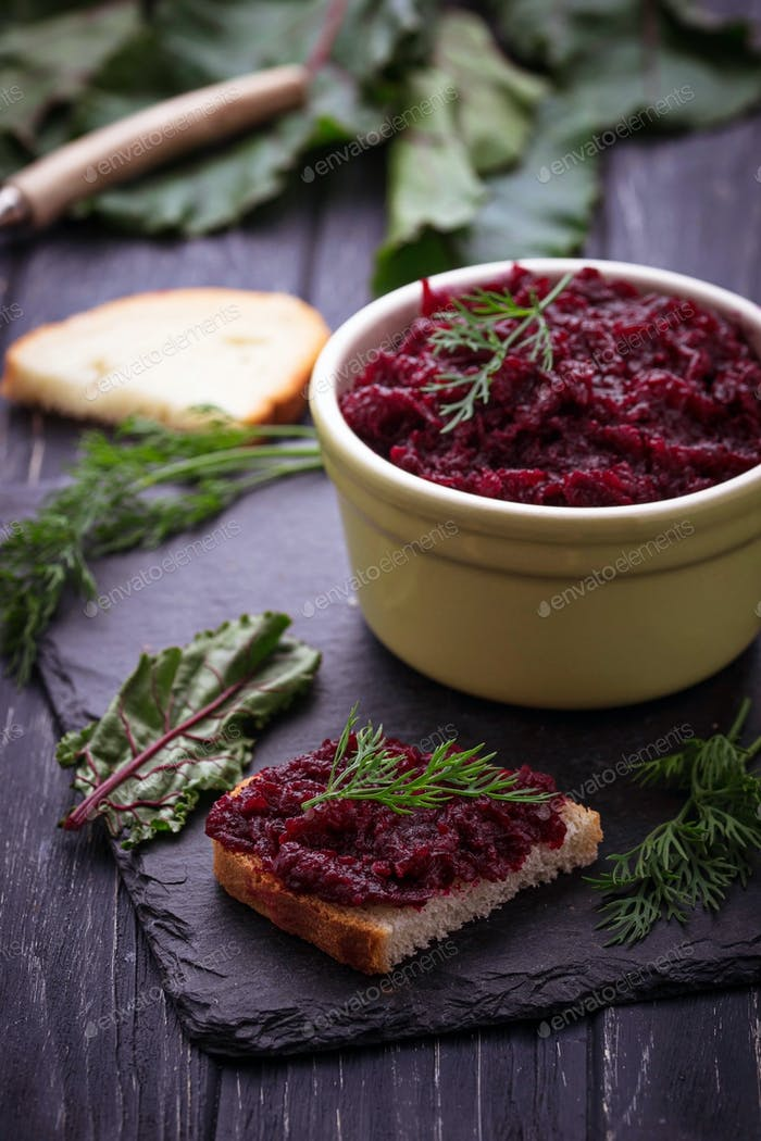 Beetroot caviar and toast