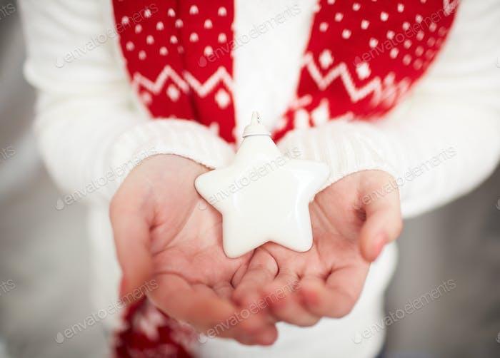Christmas star on palms