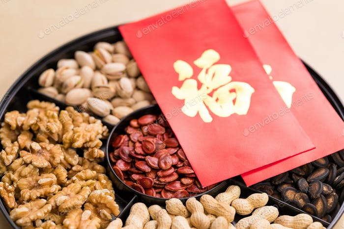 Chinese new year snack box with word meaning luck