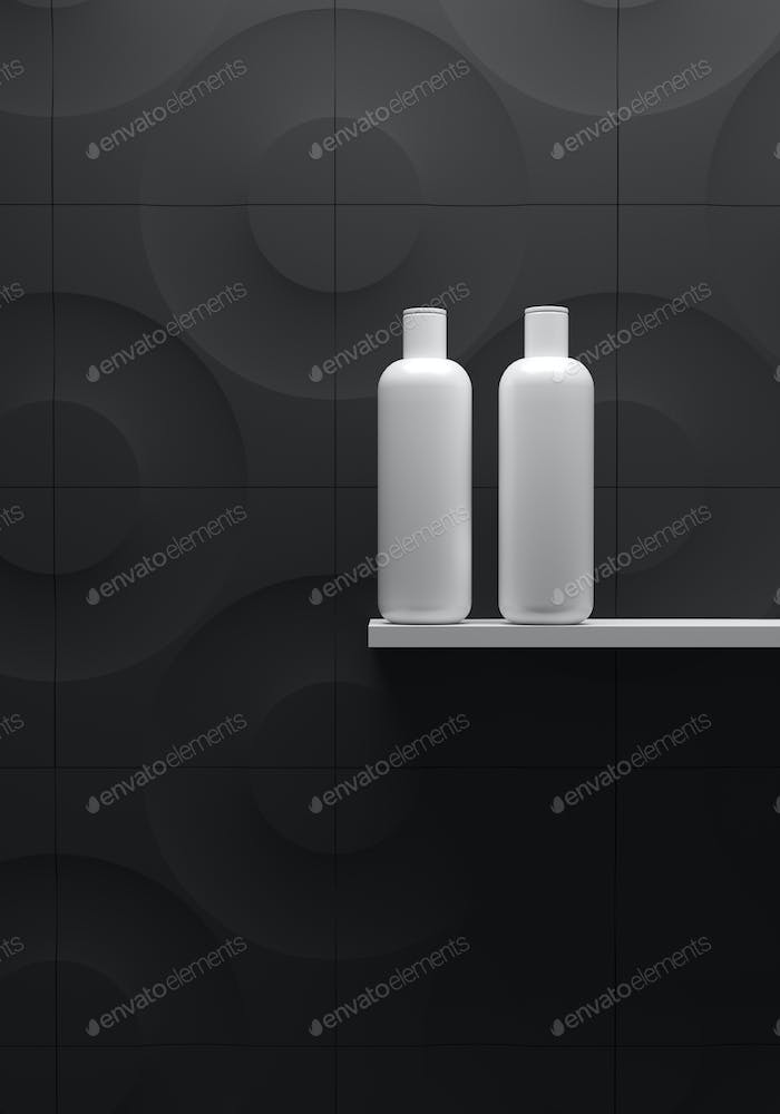 Cosmetic brand template. Raster packaging. Oil, lotion, shampoo. Bottle mock up set. On the shelf