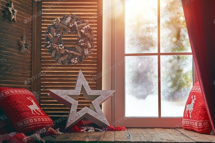 ventana decorada para Vacaciones