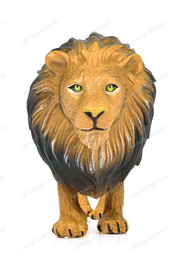 Lion toy figure on white background