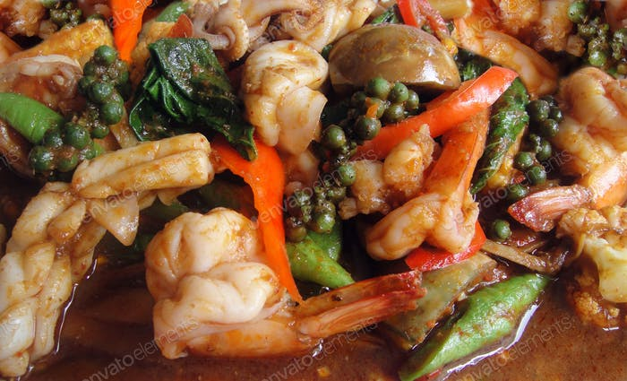 Spicy seafood with herbs Thai food