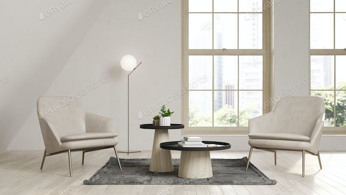 Interior of modern living room with armchair 3 D rendering