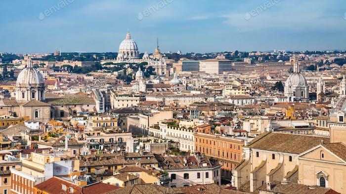 Rome cityscape in sunny winter day