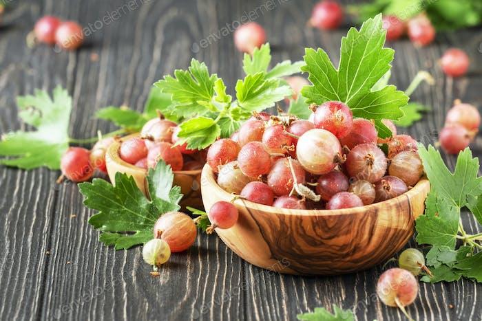 Sweet gooseberries summer harvest in bowl, wooden kitchen table background