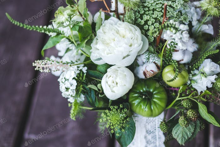Wedding bouquet in rustic style