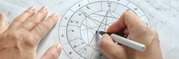 Astrology. Astrologer calculates a natal chart and makes a forecast of fate.