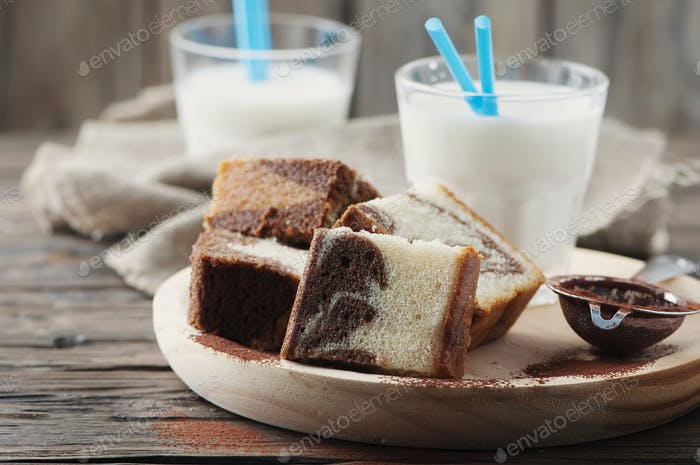 Sweet homemade marble cake with milk