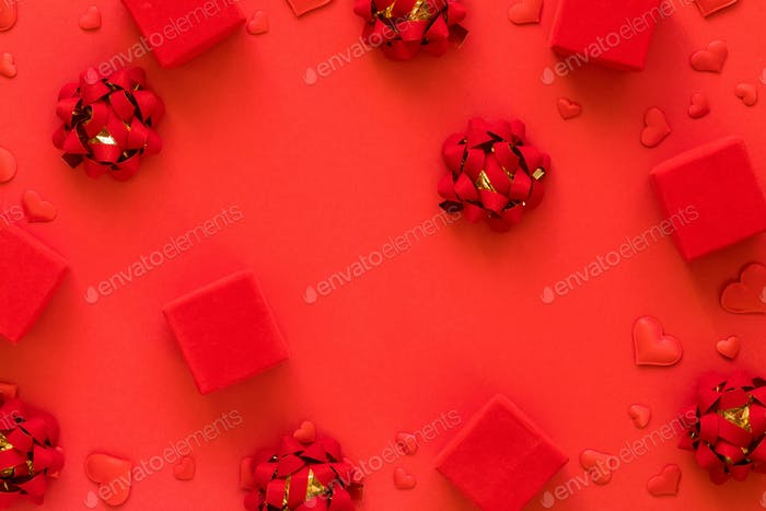 Red gift boxes Concept for Valentine's Day, Birthday, Mother's Day., Wedding Day.