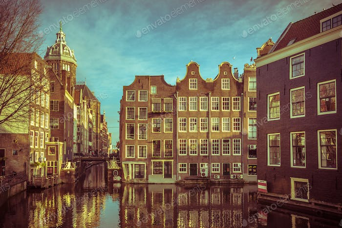 Historic Canal houses Armbrug Amsterdam retro look