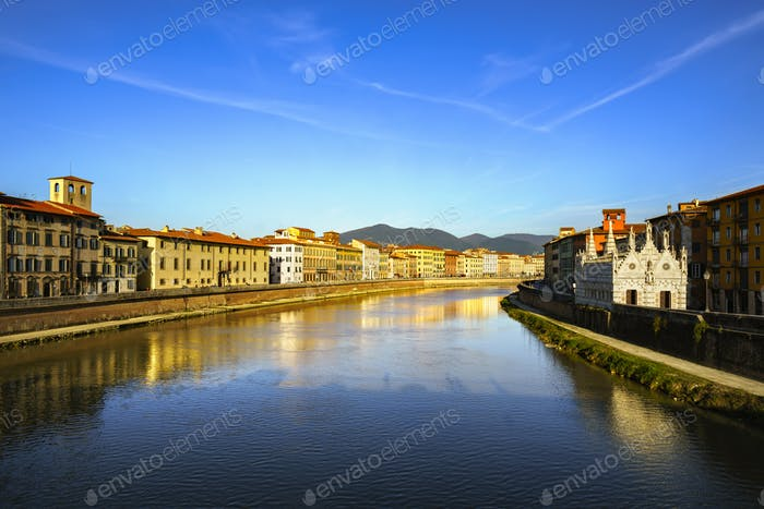 Pisa, Arno river sunset. Lungarno view and Santa Maria della Spi