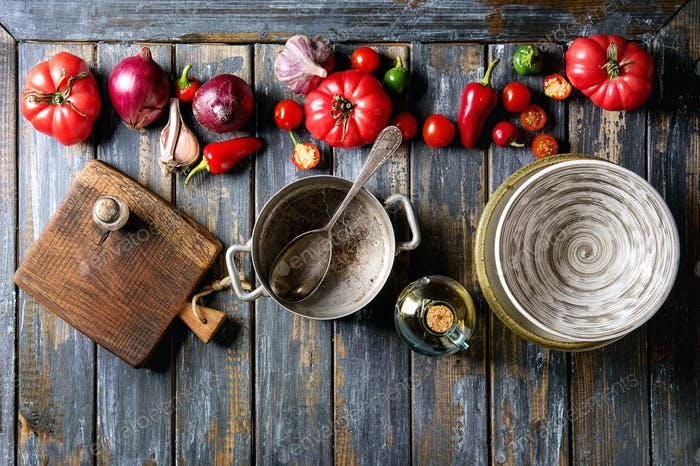 Vegetables with kitcen utensil