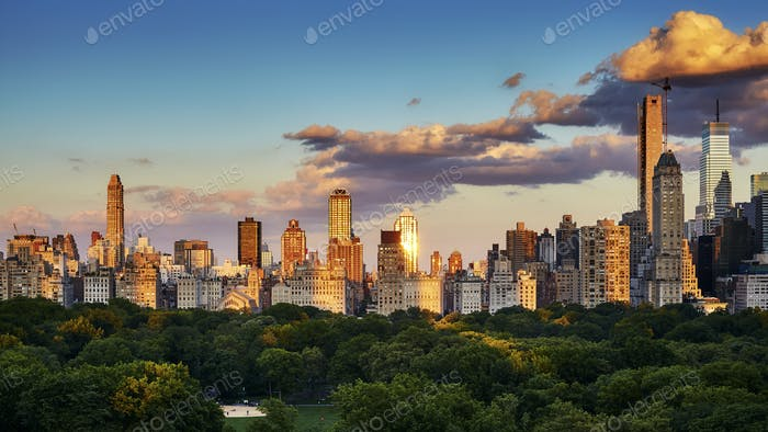 New York City Upper East Side skyline at sunset, USA.