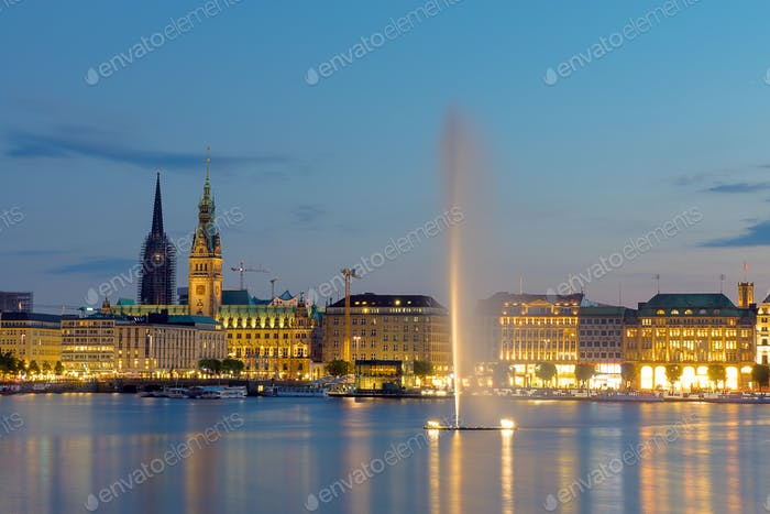 The city of Hamburg at dawn