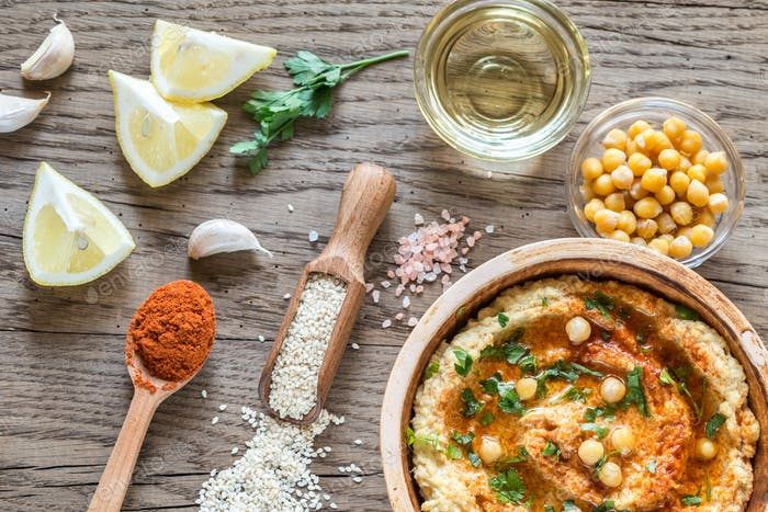 Hummus with ingredients