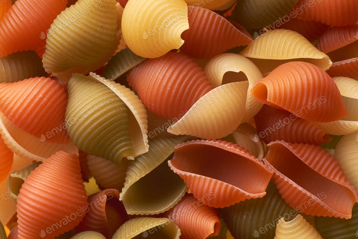Red, white and green macaroni
