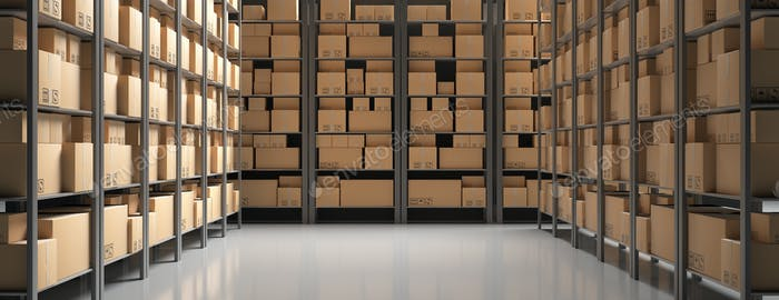 Cardboard boxes on storage warehouse shelves background. 3d illustration