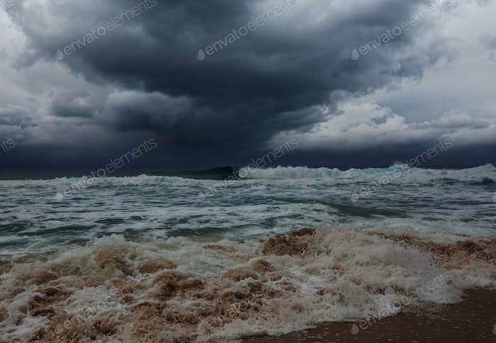 Storm weather on sea