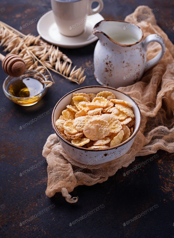 Corn flake, milk and honey.