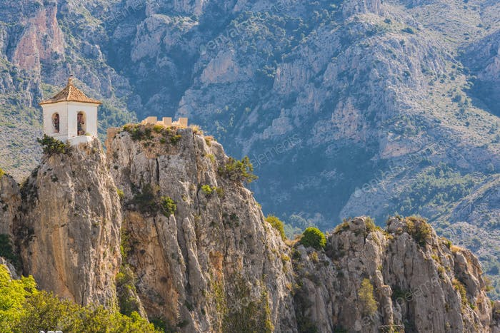Bell tower of Guadalest castle on top of the rock,Spain