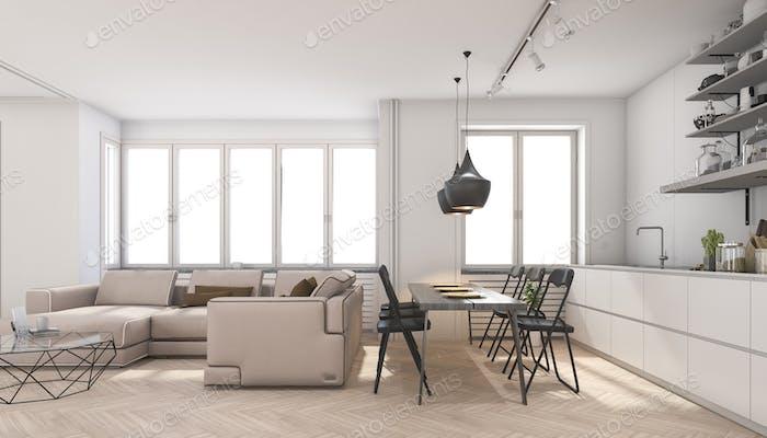 3d rendering scandinavian living room and kitchen