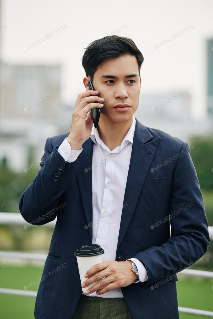 Young calling businessman
