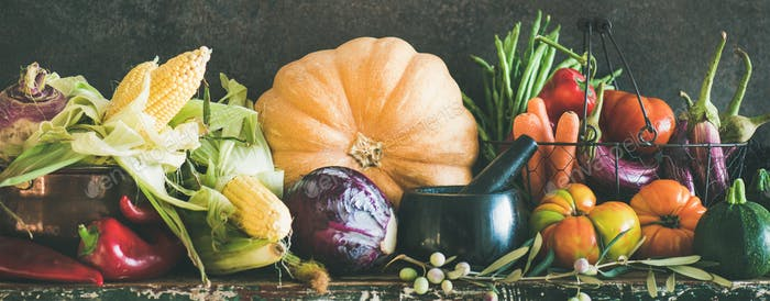 Assortment of various Autumn vegetables from local market, copy space