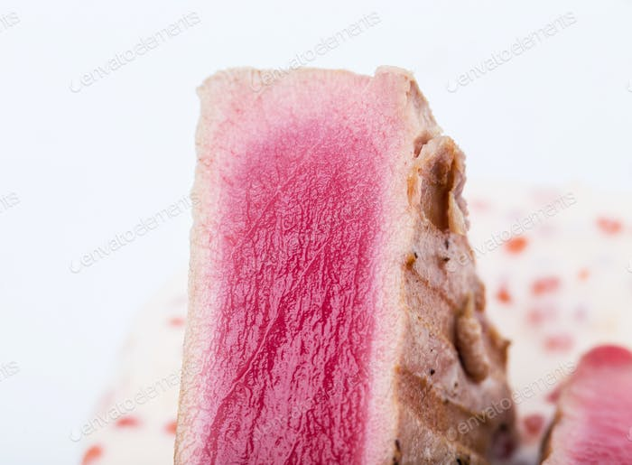 Grilled tuna with red caviar sauce.
