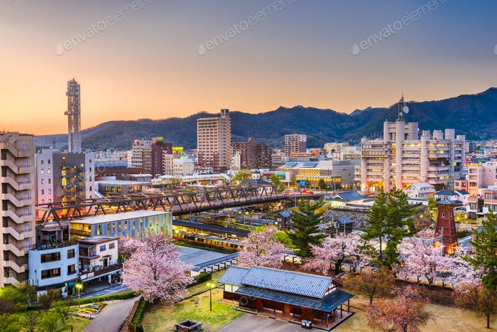 Kofu, Japan Cityscape in Spring