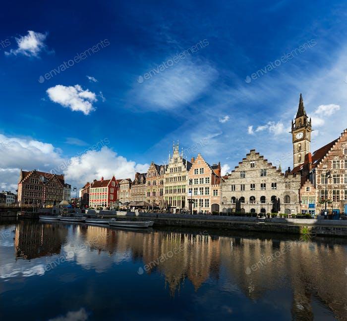 Ghent canal and Graslei street. Ghent, Belgium