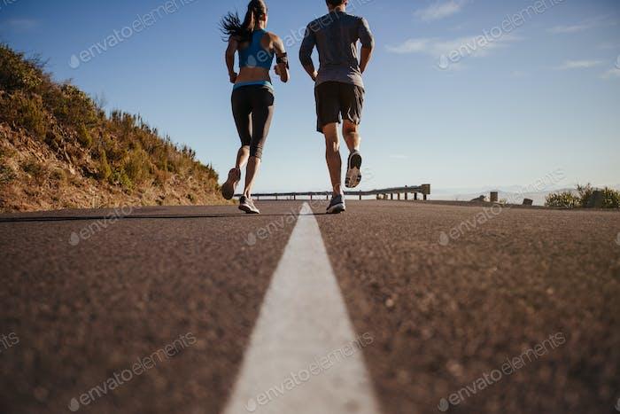 Couple of runners on morning run
