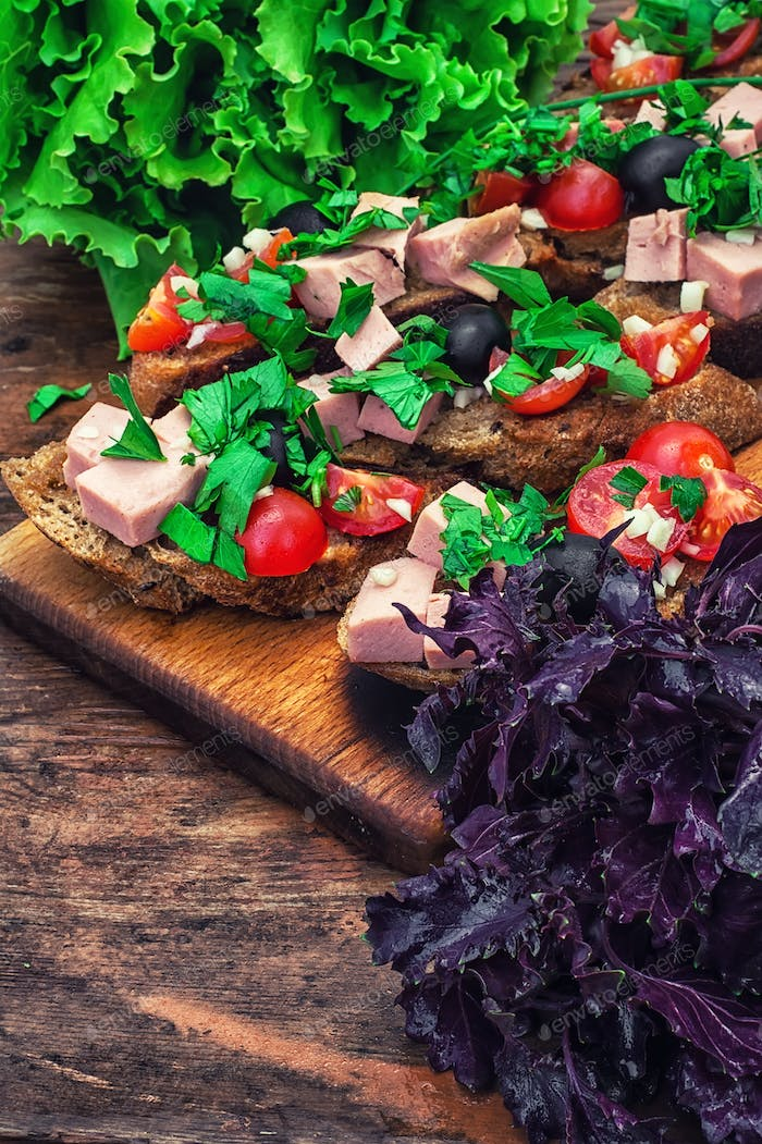 bruschetta with vegetables and meat
