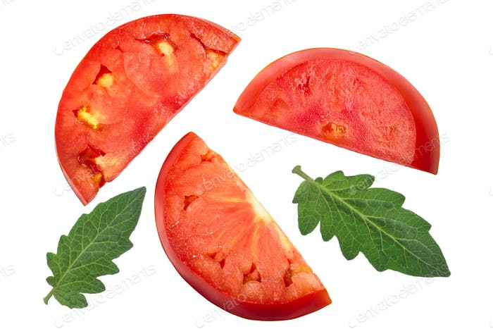 Slices of beef tomato, top view
