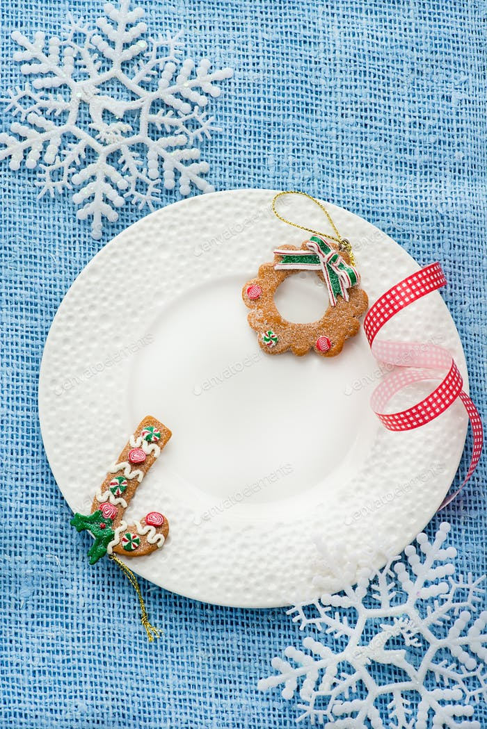White plate with Christmas decoration