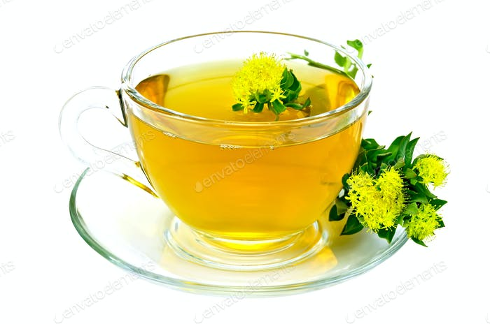 Herbal tea with Rhodiola Rosea with flowers on saucer