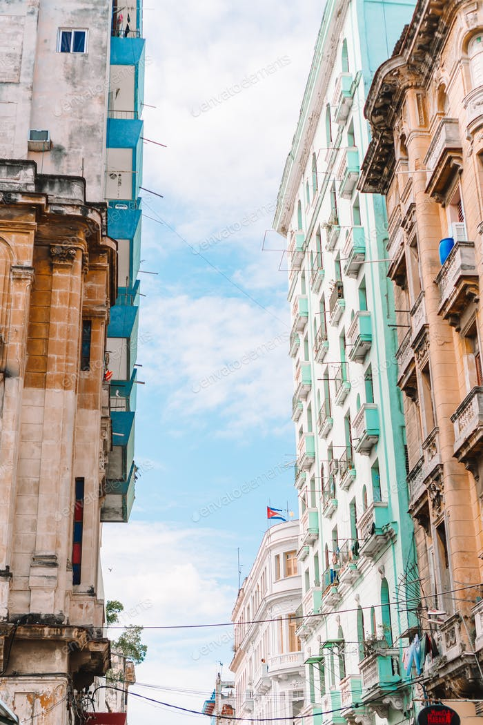 Authentic view of old abandoned house in Havana