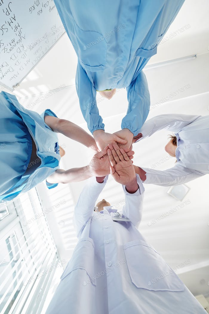 Pulmonology department stacking hands