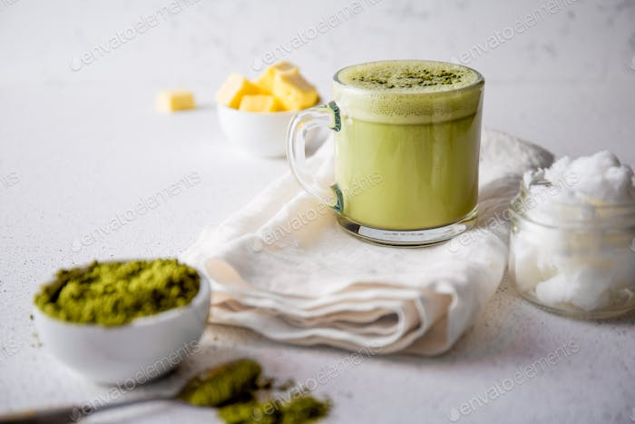 BULLETPROOF MATCHA. Ketogenic keto diet hot drink.