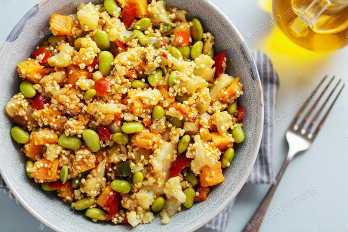Quinoa with vegetables in bowl