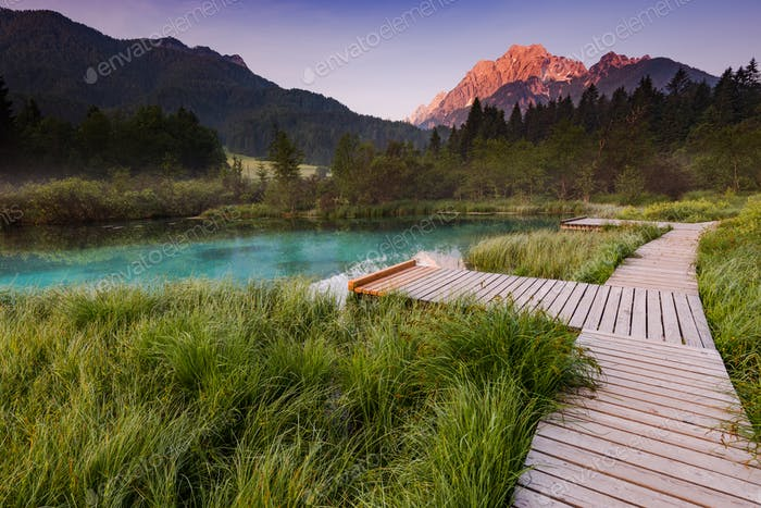 Sunrise in Zelenci Park, Slovenia