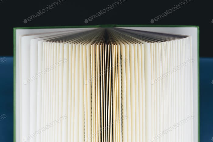 A hard cover printed book, opened and upright. Pages fanned out.